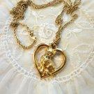 Avon Loving Kitty Gold tone Heart Necklace