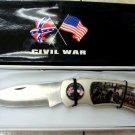 Civil War 1861-1865 Giant Large Lockback Knife w/ Wood Stand