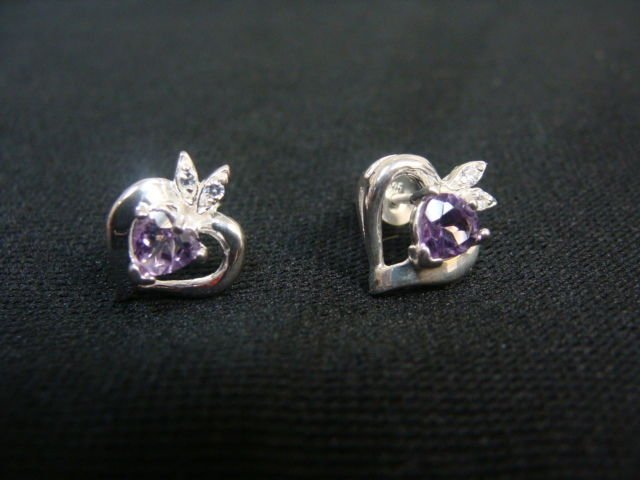 Avon Genuine Amethyst Heart Pierced Sterling Silver Earrings