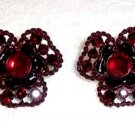 Avon Tonal Burgundy Flower Rhinestone Clip Earrings