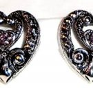 Avon Elegant Era Silvertone w/ Pink Rhinestone Clip Earrings