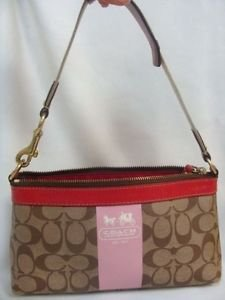 Coach Womens Ladies Signature Pink Strip Canvas Handbag Purse #11562