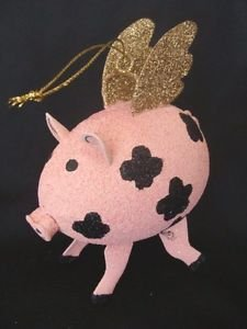 Christmas Angel Pig w/ Wings Ornament