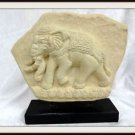 Elephant Sand Stone Circus Plaque on Wood Stand