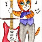 ACEO Original Watercolor - Guitar Cat