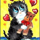 ACEO - Watercolor - Valentine Cat by Patricia Ann Rizzo