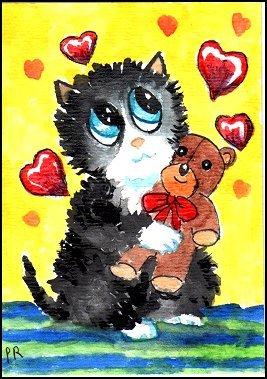 ACEO - Watercolor - Valentine Cat by Patricia Ann Rizzo