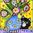 ACEO Art - Funky Flowers Black Cat - Patricia Ann Rizzo