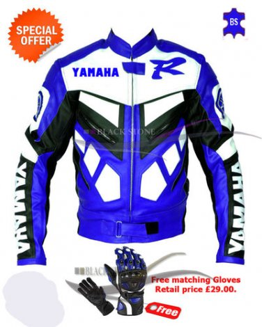 motorbike Yamaha leather jacket with free gloves special offer