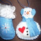 Scented Snowman and Mitten Ornament Set