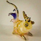 Hand Blown Glass White Rooster Chicken Gilt Miniature Animal Figurines Thai Gifts