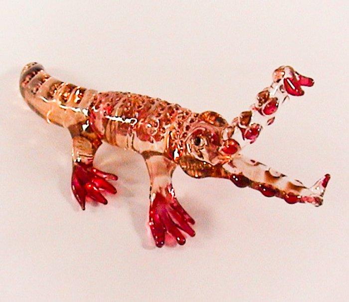 Hand Blown Glass Scarlet Crocodile (Alligator) Art Glass Animal Figurines Thai Gifts