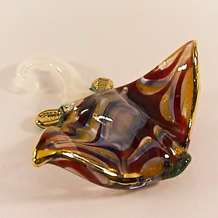Hand Blown Glass Colorful Ray-Fish Gilt 3 Art Glass Animal Figurines Thai Gifts