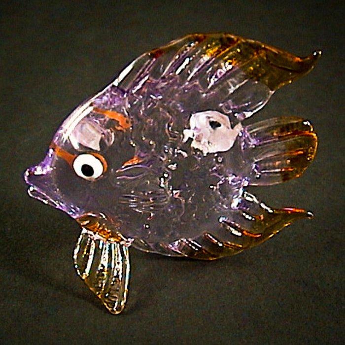 Hand Blown Glass Purple Fish Art Glass Animal Figurines Thai Gifts