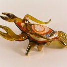Hand Blown Glass Yellow-White Lobster Gilt Art Glass Animal Figurines Thai Gifts