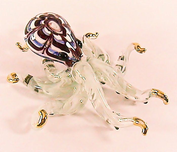 Hand Blown Glass Red Octopus Green Dot Gilt Art Glass Animal Figurines Thai Gifts