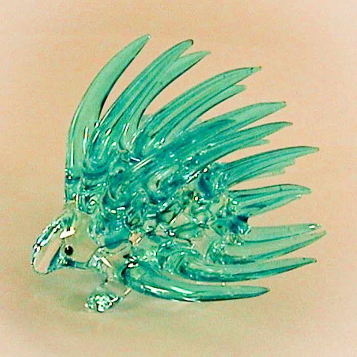 Hand Blown Glass Blue Porcupine Art
