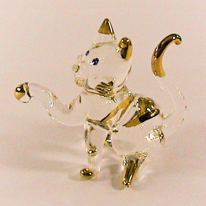 Hand Blown Glass Cat Gilt Art Glass Animal Figurines Thai Gifts