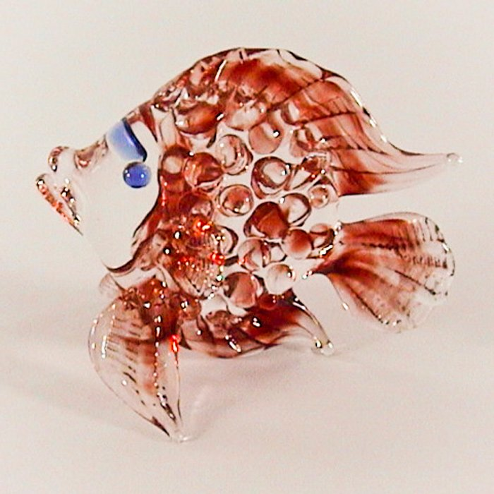 Hand Blown Colored Glass Red Fish Art Glass Animal Figurines Thai Gifts