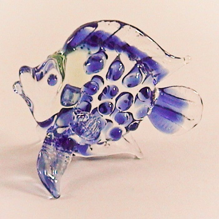 Hand Blown Colored Glass Blue Fish Art Glass Animal Figurines Thai Gifts