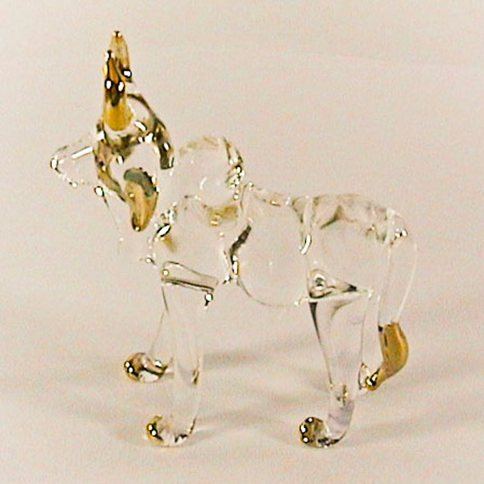 Hand Blown Glass Ox Gilt Art Glass Animal Figurines Thai Gifts