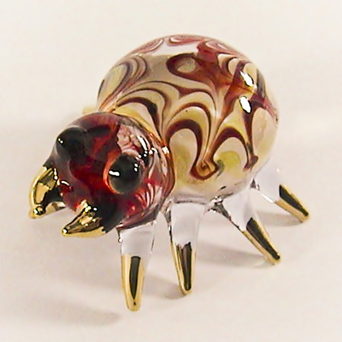 Hand Blown Glass Red Spider Gilt #2 Art Glass Animal Figurines Thai Gifts
