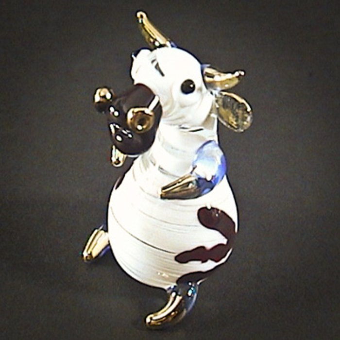 Hand Blown Glass Red-Blue Goat Gilt Art Glass Animal Figurines Thai Gifts