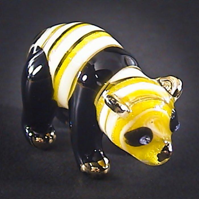 Hand Blown Glass Black-Yellow Panda Gilt Art Glass Animal Figurines Thai Gifts