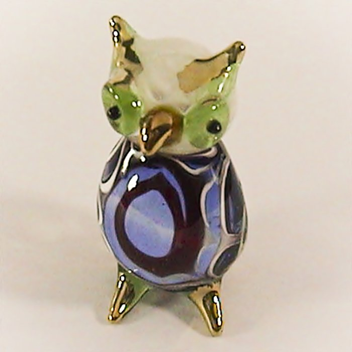 Hand Blown Glass Blue-Brown Owl Gilt Art Glass Animal Figurines Thai Gifts