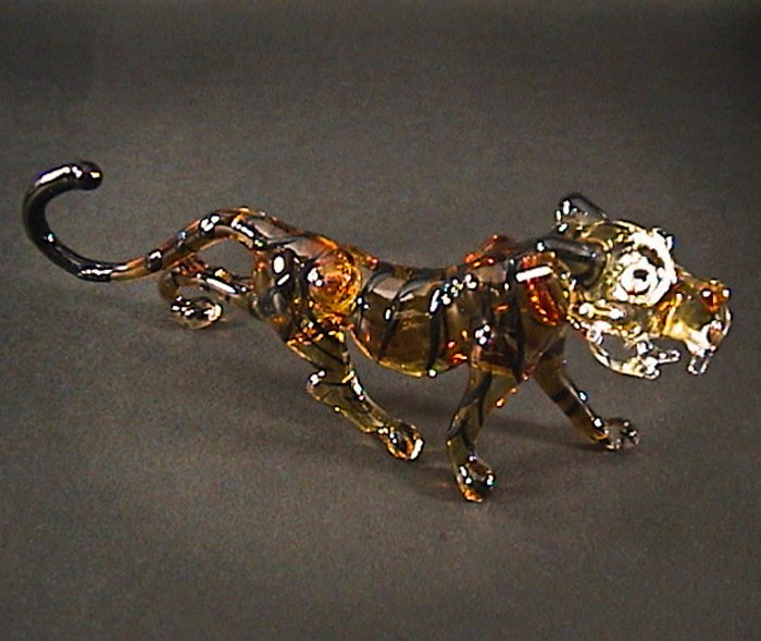Hand Blown Glass Brown Tiger Art Glass Figurines Animals Thai Gifts