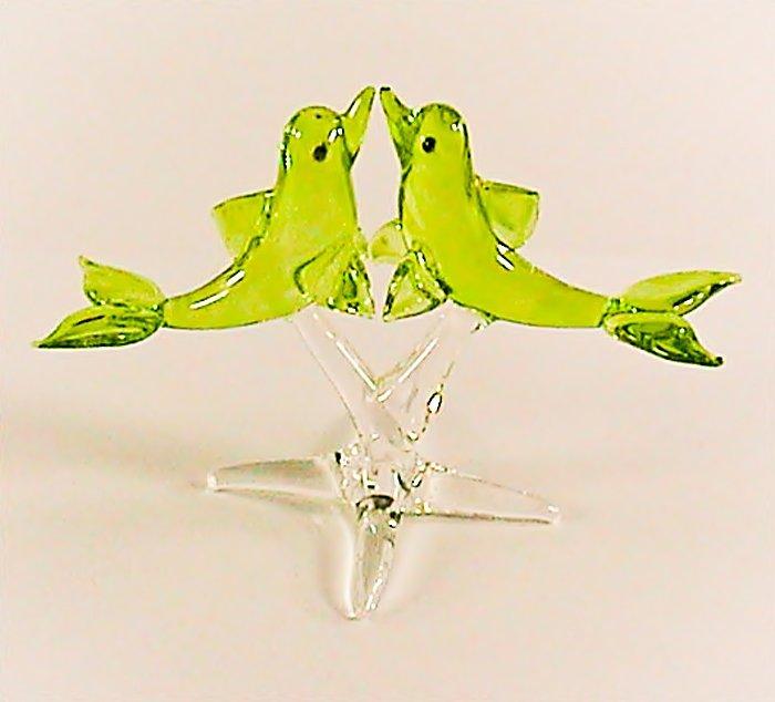 Hand Blown Glass Green Twin Dolphin Fish Art Glass Figurines Animals Thai Gifts