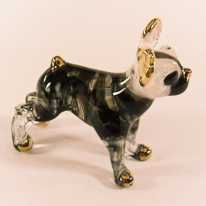 Hand Blown Glass Black Chihuahua Dog Gilt Miniature Glass Animal Figurines Thai Gifts