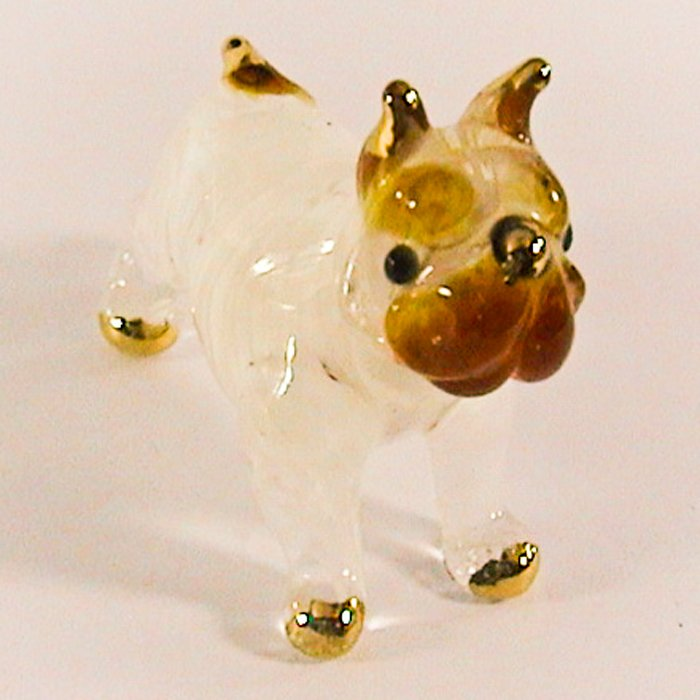Hand Blown Glass White Bulldog Gilt #4 Art Glass Figures Animals Thai Gifts