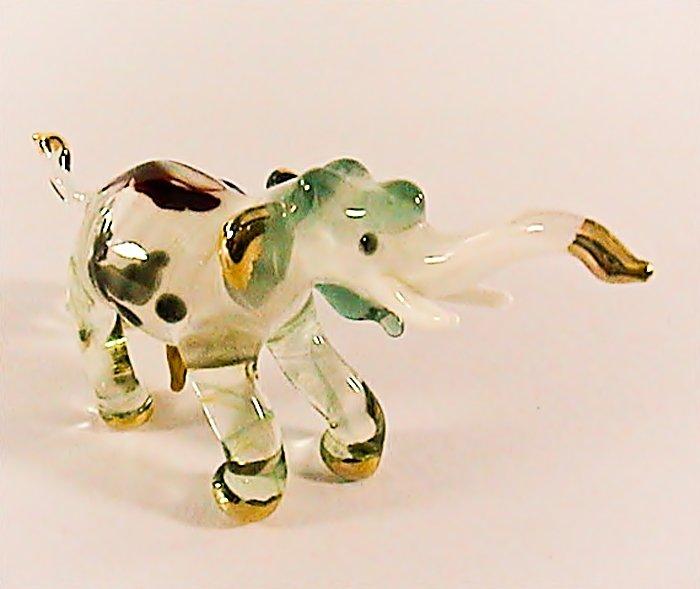 Hand Blown Glass Green Elephant Gilt Art Glass Figures Animals Thai Gifts