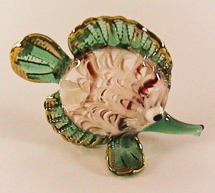 Hand Blown Glass White-Red-Green Fish Gilt Art Glass Figures Animals Thai Gifts