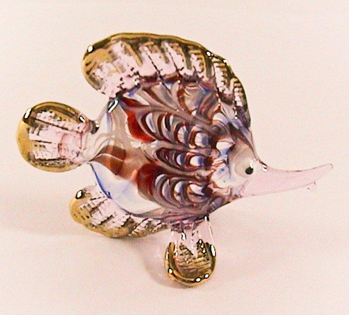 Hand Blown Glass White-Red-Purple Fish Gilt Art Glass Figures Animals Thai Gifts