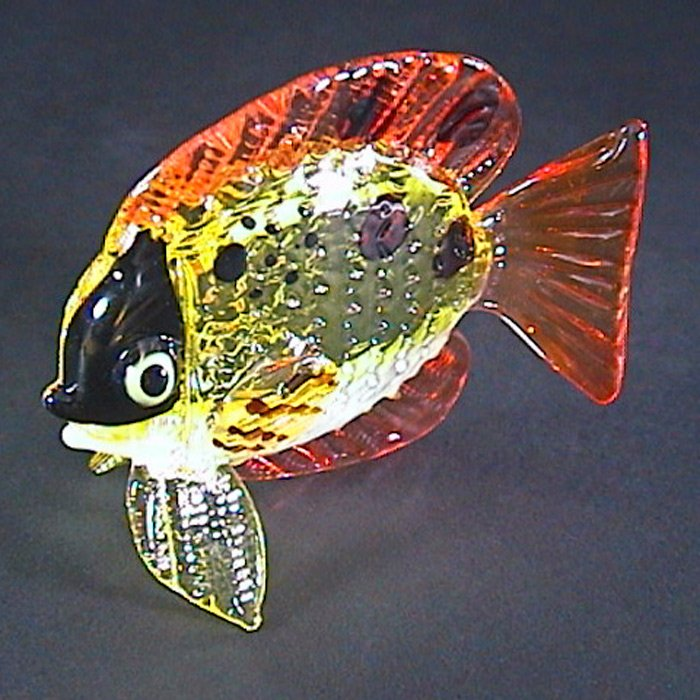 Hand blown Glass Fish Colorful 6 Art Glass Figures Animals Thai Gifts