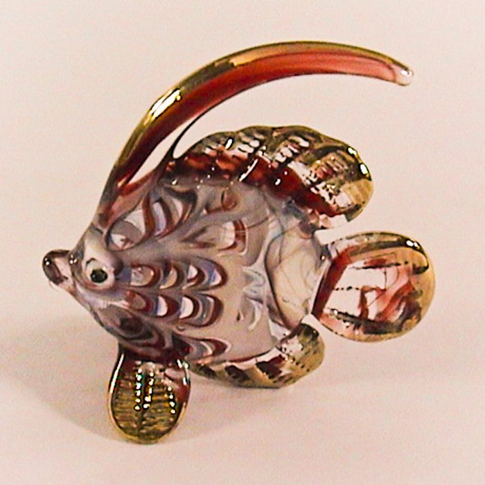 Hand Blown Glass Red Fish Gilt Art Glass Animal Figurines Thai Gifts
