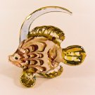 Hand Blown Glass Red-Yellow Fish Gilt Art Glass Animal Figurines Thai Gifts