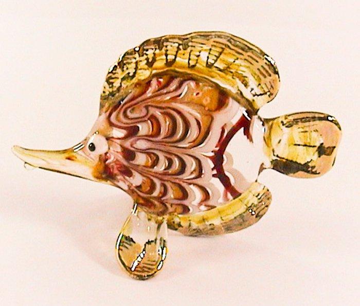 Hand Blown Glass Red-Yellow Fish Gilt 2 Art Glass Animal Figurines Thai Gifts