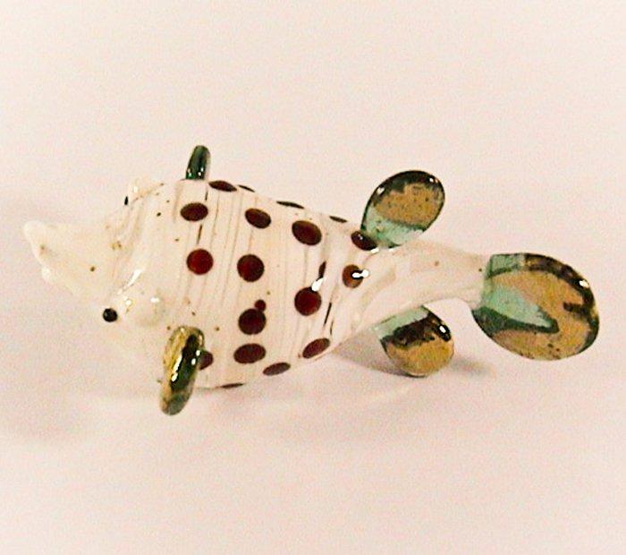 Hand Blown Glass Puffer Fish Red dot Art Glass Animal Figurines Thai Gifts