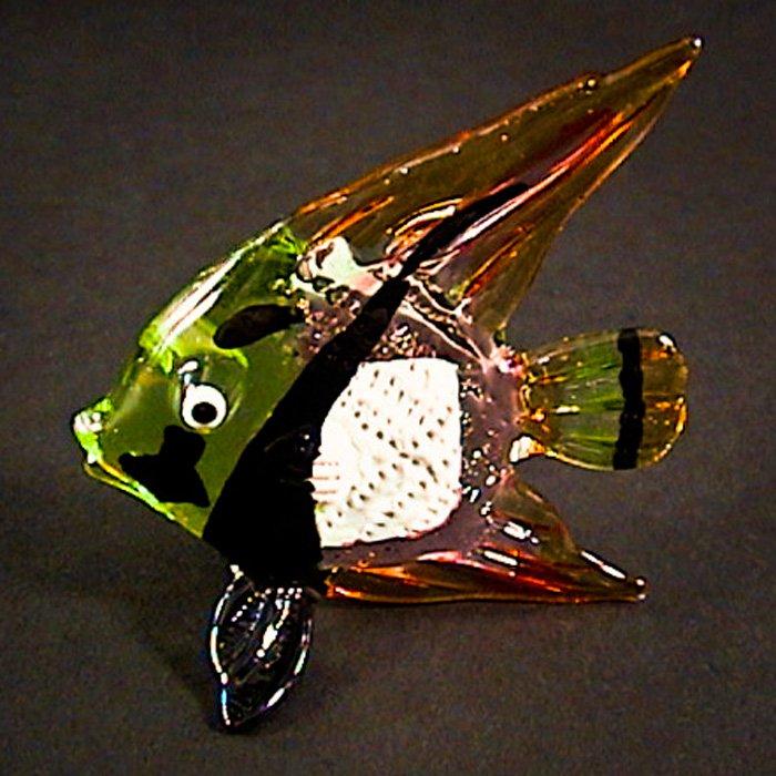 Hand Blown Glass Green-Orange Fish Art Glass Animal Figurines Thai Gifts
