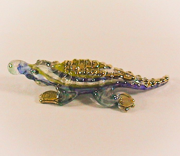 and Blown Glass Blue Crocodile (Alligator) Gilt Art Glass Figurines Animals Thai Gifts