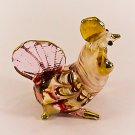 Hand Blown Glass Pink Hen Chicken Gilt Art Glass Animal Figurines Thai Gifts