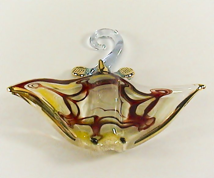 Hand Blown Glass Colorful Ray Fish Gilt #5 Art Glass Figurines Animals Thai Gifts