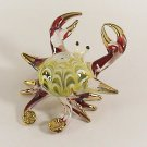 Hand Blown Glass Red-Yellow Crab Gilt Art Glass Animal Figurines Thai Gifts