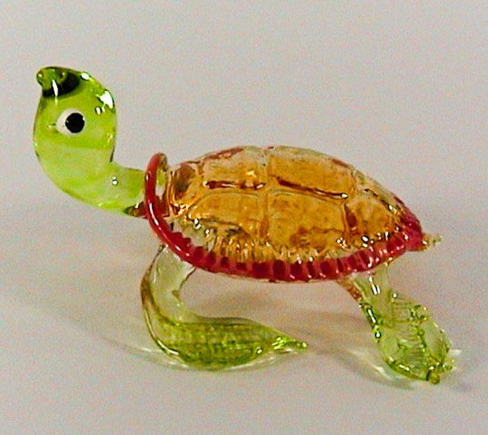 Hand Blown Glass Green Turtle Art Glass Figurines Animals Thai Gifts