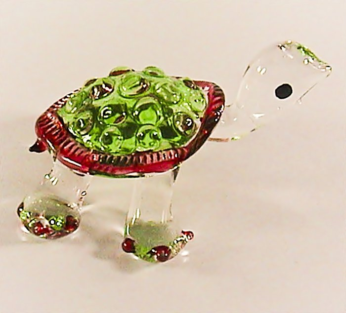 Hand Blown Glass Green Turtle #2 Art Glass Figurines Animals Thai Gifts
