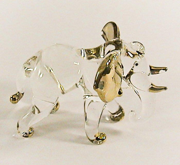 Hand Blown Glass Elephant Gilt #3 Art Glass Animal Figurines Thai Gifts