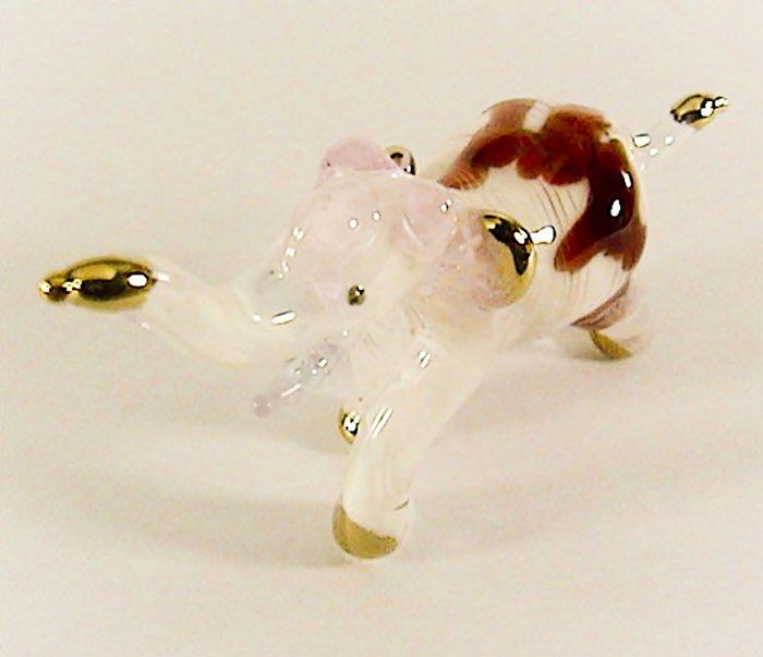 Hand Blown Glass Pink-Red Elephant Gilt Art Glass Animal Figurines Thai Gifts